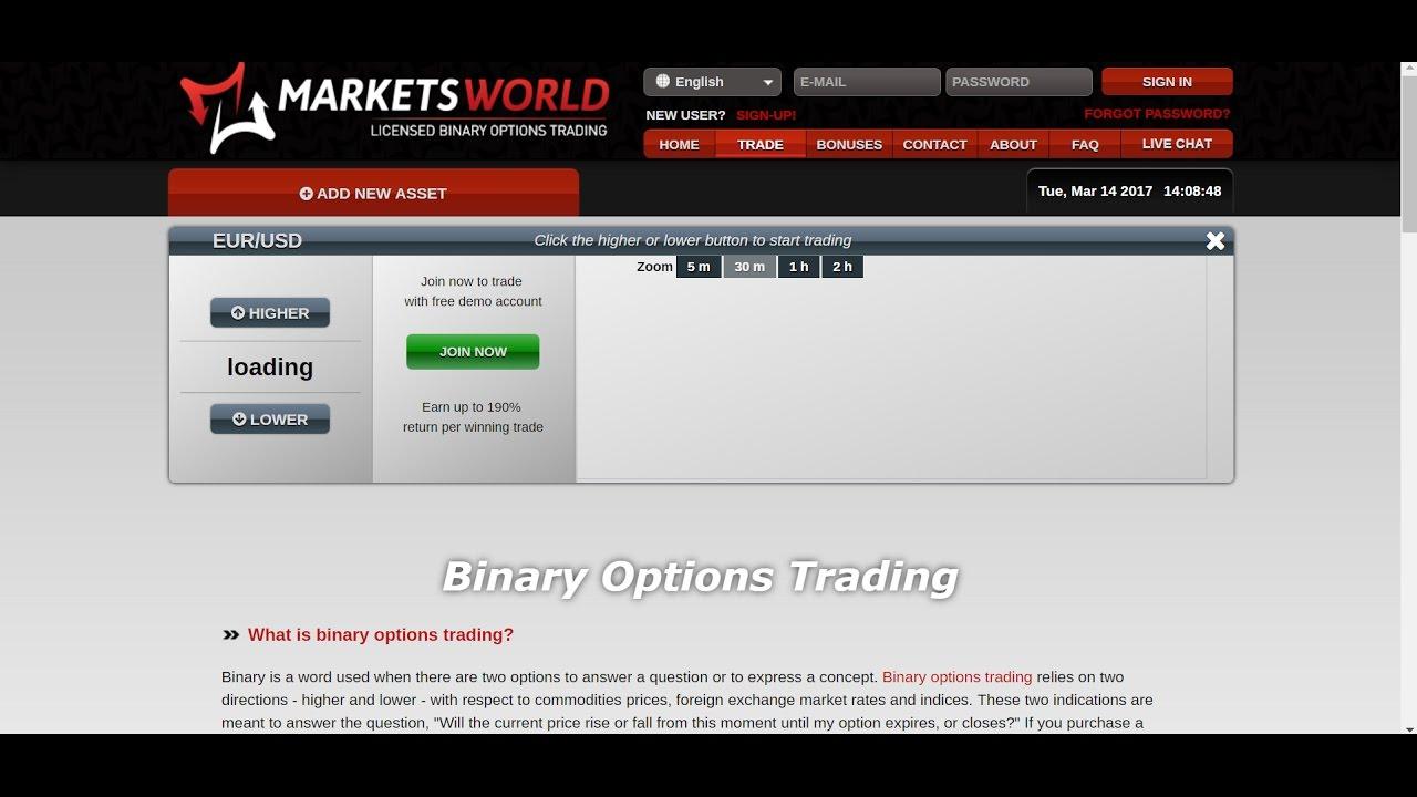 marketsworld binary trading opzioni binarie 1 euro 60 secondi