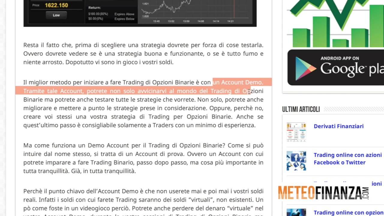 Cosa sono le Opzioni Binarie - Giocare in Borsa