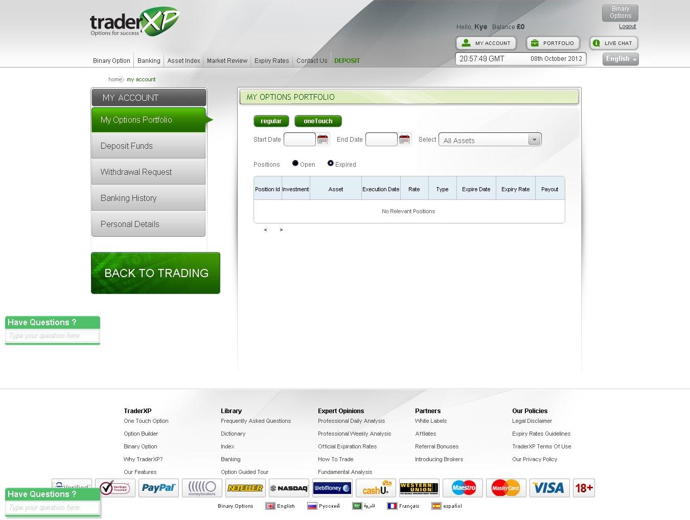 TraderXP Login