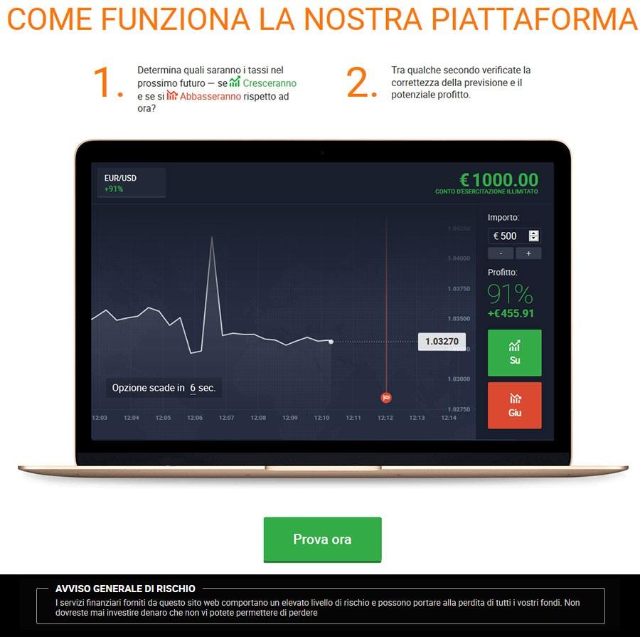 piattaforma per opzine binarie con 10 euro di deposito