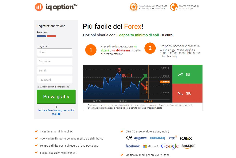 Broker deposito minimo 10 - 50 - 100 euro opzioni CFD Forex e criptovalute